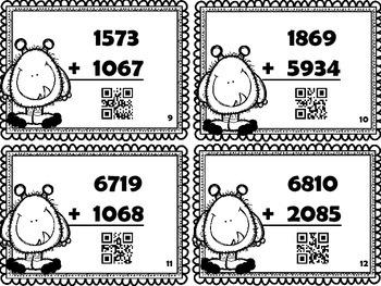 Cartes à tâches : L'addition des nombres de 4 chiffres (avec code QR)