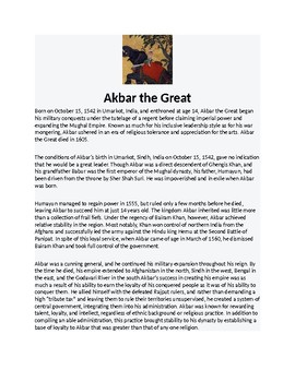 Akbar the Great Biography Article and Assignment