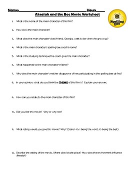 akeelah and the bee movie guide questions by kass 39 aunt 39 s classroom. Black Bedroom Furniture Sets. Home Design Ideas