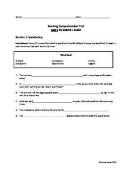 Akiak Reading Comprehension Test