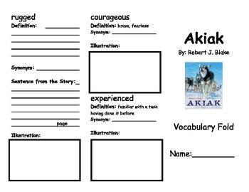 Akiak Vocabulary Fold-able