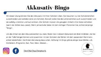 Akkusativ übung Mit Bingo By Der Die Das Deutsch Tpt