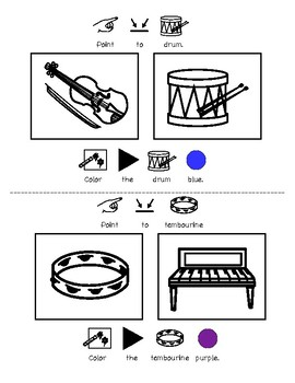All About Instruments: Vocabulary and Speech Printable Activity (Autism, Music)