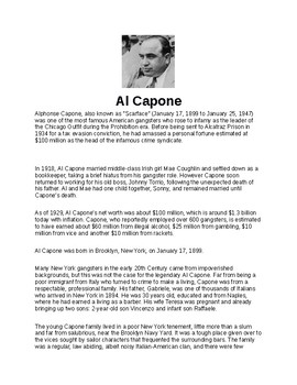 Al Capone Article and Assignment