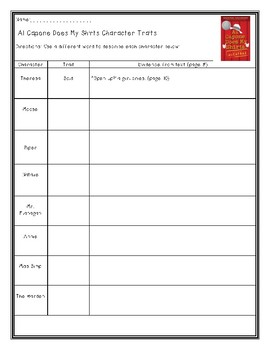 Al Capone Does My Shirts Character Trait Chart