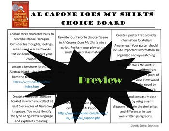 Al Capone Does My Shirts Choice Board Novel Study Activities Book Project