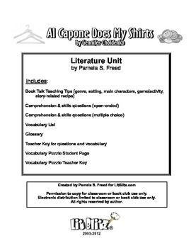 Al Capone Does My Shirts Literature Unit or Book Club selection