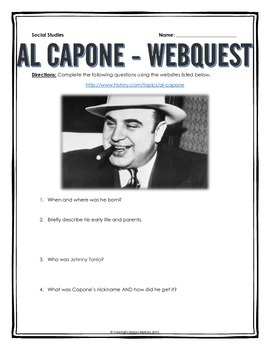 Al Capone - Webquest with Key (Prohibition)