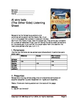 Al otro lado: Listening Sheet for Movie