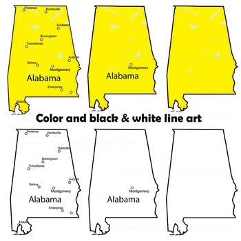 Alabama State Symbols and Map Clipart