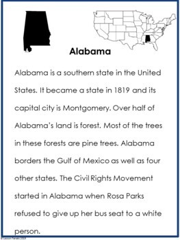 Alabama: A State Research Brochure Activity