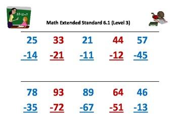 Alabama Alternate Assessment (AAA) Math 6.1: Subtracting 2-Digit w/o Regrouping