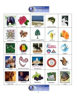 Alabama Bingo:  State Symbols and Popular Sites