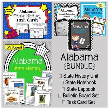 Alabama Bundle. History Unit. Bulletin Board. Notebook. Lapbook. Task Cards.