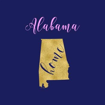 Alabama Clipart, USA State Vector Clipart, Alabama Home, Gold US Clipart