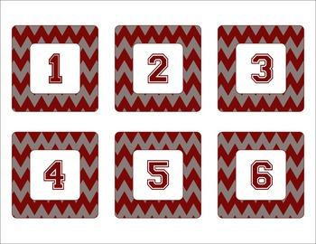 Alabama Crimson Tide Inspired Crimson and Gray Chevron Calendar Pieces