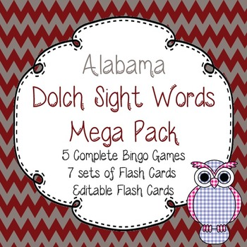 Alabama Dolch Sight Words Mega Pack-Flash Cards and Bingo-Roll Tide