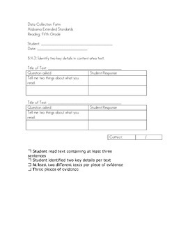 Alabama Extended Standards Fifth Grade Reading Data Sheets