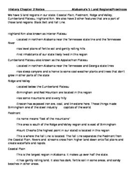 Alabama History-5 Land Regions Study Notes