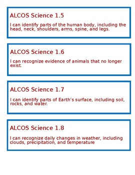 """Alabama """"I Can"""" Statements for Science - First Grade"""