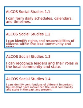 "Alabama ""I Can"" Statements for Social Studies - First Grade"