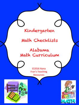 Alabama Kindergarten Math Checklists
