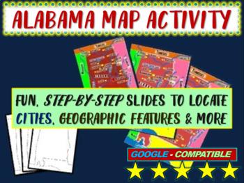 Alabama Map Activity- fun, engaging, follow-along 20-slide PPT