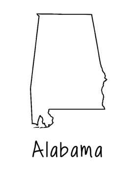 Alabama Map Coloring Page Craft - Lots of Room for Note-Taking & Creativity