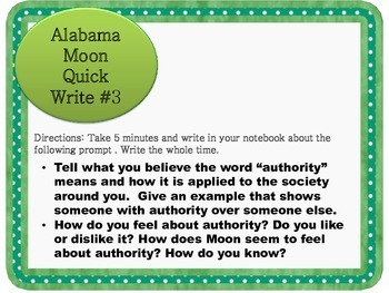 Alabama Moon by Watt Key Quick Writes