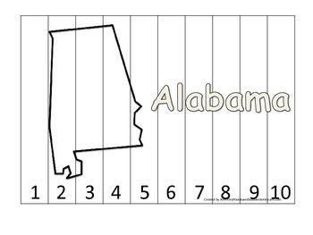 Alabama Number Sequence Puzzle.  Learn the States preschool printable game.
