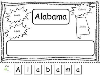 Alabama Read it, Build it, Color it Learn the States preschool worksheet.