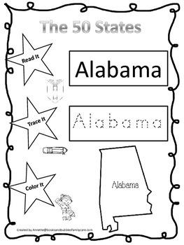 Alabama Read it, Trace it, Color it single Learn the States preschool worksheet.