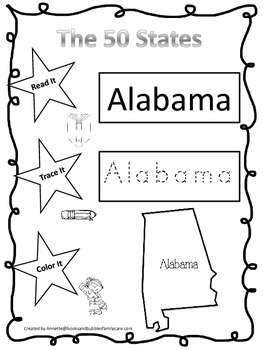 Alabama Read it, Trace it, Color it single Learn the State