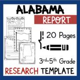Alabama State Research Report Project Template with bonus timeline Craftivity AL