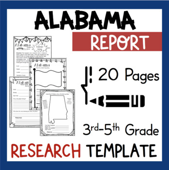 Alabama State Research Report Project Template with bonus timeline Craftivity AL