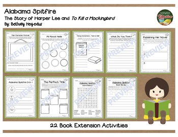 Alabama Spitfire Harper Lee Biography by Hegedus 22 Extension Activities
