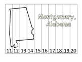 Alabama State Capital Number Sequence Puzzle 11-20.  Geography and Numbers.