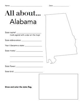 Alabama State Facts Worksheet: Elementary Version