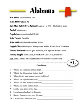 Alabama State Information & Worksheet