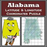 Alabama State Latitude and Longitude Coordinates Puzzle - 35 Coordinates to Plot