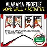 Alabama History Word Wall, State Profile, Activity Pages