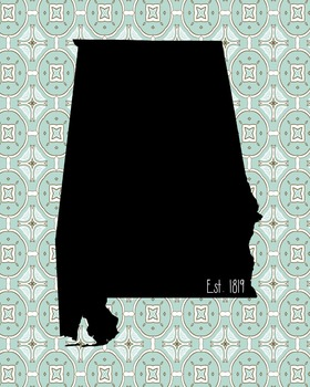 Alabama Vintage State Map or Poster or Poster Class Decor Decoration