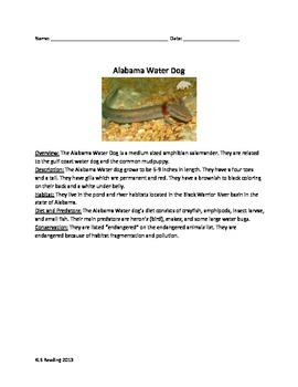 Alabama Water Dog - Review Article Questions Vocabulary Wo