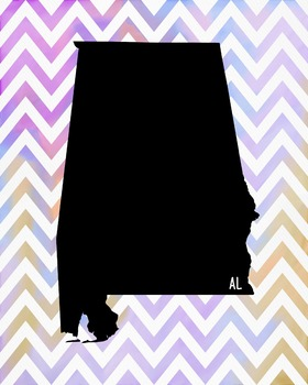 Alabama Chevron State Map Class Decor, Government, Geography