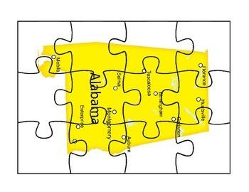 Alabama puzzle map activities