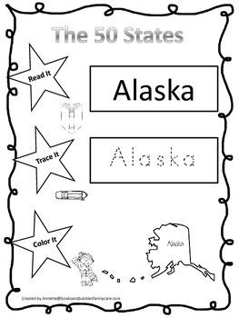 Alaska Read it, Trace it, Color it single Learn the States preschool worksheet