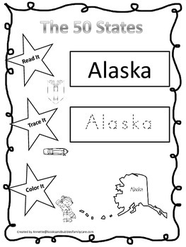 Alaska Read it, Trace it, Color it single Learn the States