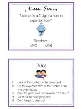 Aladdin Expanded Form Math File Folder Game Place Value Tens & Ones