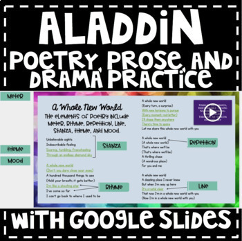 Aladdin Poetry, Prose, and Drama Practice with Google Classroom
