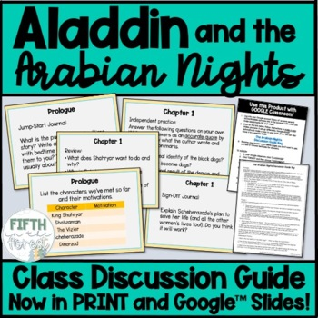 Aladdin and the Arabian Nights Novel Study NO PREP Class Discussion Guide